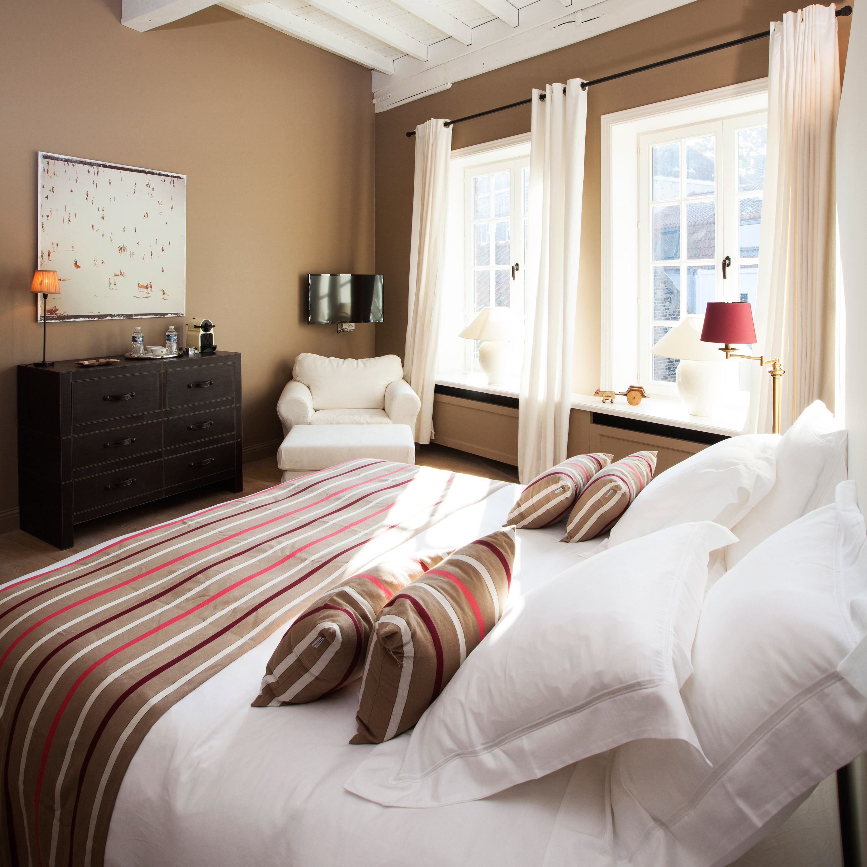 De Biarritz-kamer in bed and breakfast Maison Amodio in Brugge.